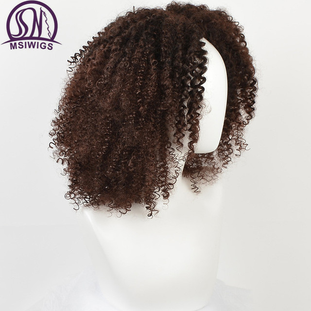 MSIWIGS Brown Synthetic Curly Wigs for Women 4 Colors Ombre Short Afro Wig African American 14 Inches Black Hair 1