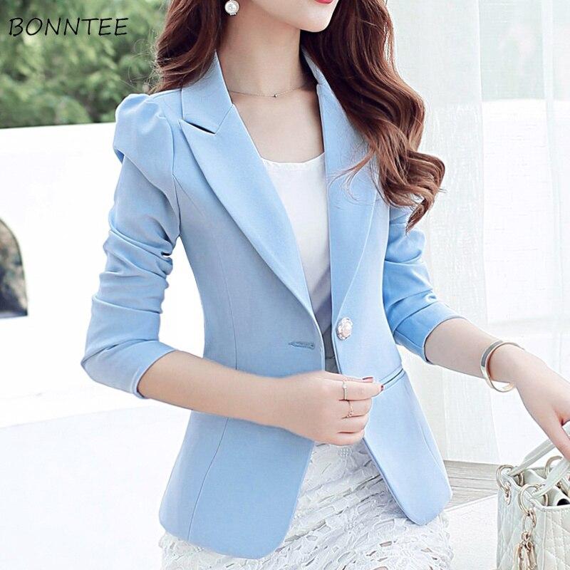 Blazers Women 2019 New Elegant Slim Single Button All-match Long Sleeved Womens Blazer Korean Style Simple Trendy Daily Ladies