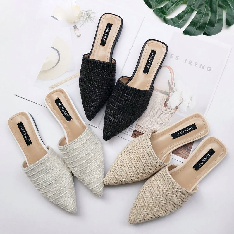 Tangnest New Fashion Women Summer Slippers Flat Slides Pointed Toe Weave Mules Shoes Slip On Lady Outside Sandals Shoes XWT1811Tangnest New Fashion Women Summer Slippers Flat Slides Pointed Toe Weave Mules Shoes Slip On Lady Outside Sandals Shoes XWT1811
