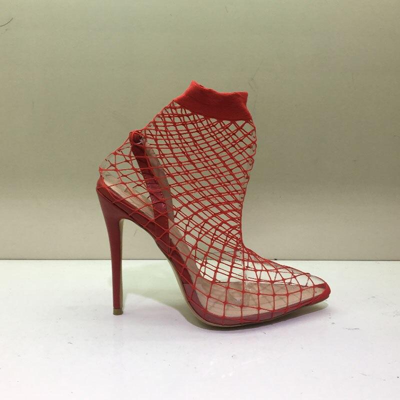 Femme Chaussures Baiser Pvc Mince Talons D'été Bottes Rouge Maille Bottines Bout 2019 vin Hauts rouge Mouillé En Femmes Noir Transparent Pointu Sexy Pour xAq7xFwg