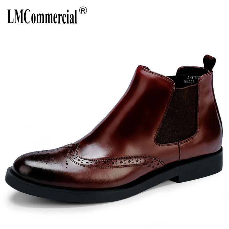 Genuine Leather high top shoes mens Chelsea boots carved dress Riding Boots autumn winter British retro men shoes cowhide maleGenuine Leather high top shoes mens Chelsea boots carved dress Riding Boots autumn winter British retro men shoes cowhide male