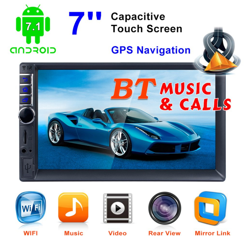 2Din автомобиля MP4/MP5 плеер 7-дюймовый Сенсорный экран радио gps Функция SD USB AUX заднего вида рулевого колеса Управление Android 7,1 игрок автомобиля