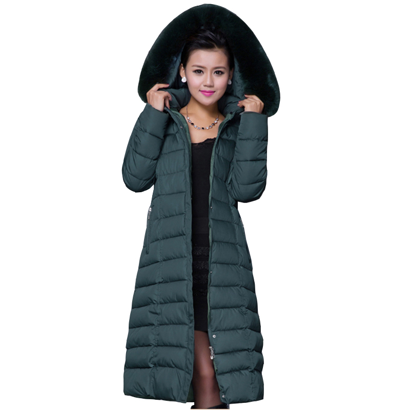 Jacket Women 2017 Winter plus size Parkas Warm Clothes outerwear Long Female Hooded Artificial fur collar thicker Coats QH0670 2015 hot new winter thicken warm woman down jacket coat parkas outerwear hooded fox fur collar luxury long brand plus size 2xxl