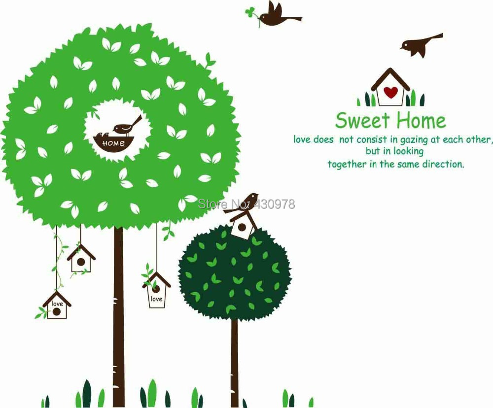 QZ734 Free Shipping 1Pcs Green Leaf Branch Bird Birdcage Sweet <font><b>Home</b></font> Removable PVC Wall Stickers <font><b>Elegant</b></font> <font><b>Home</b></font> <font><b>Decoration</b></font> Gift