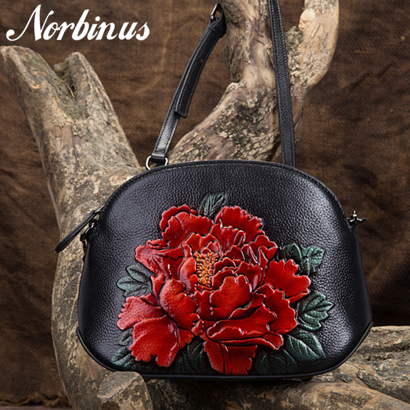 Norbinus Genuine Leather Women Bags Crossbody Flowers Handbag Small Embossed Tote Purse Chinese Style Messenger Shoulder Bag