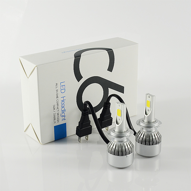 Hot sale C6 turbo COB H7 36W 3800lm 6000K LED Headlight Fog Bulb energy saving DRL Driving lamp kit 12-24v car refit accessories