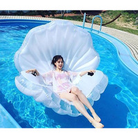 Giant Pool Float Clam Shell Inflatable In Water Floating Row Pearl Ball Scallop Aqua Loungers Floating Air Mattress Swim Ring