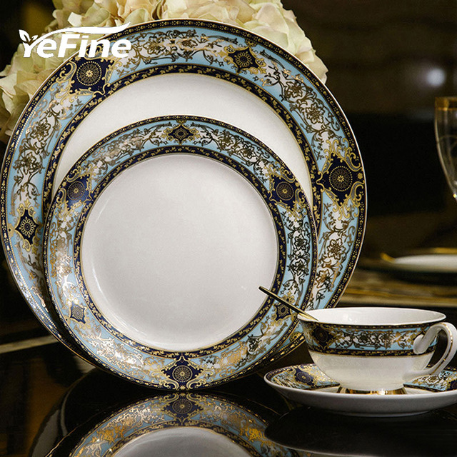 yefine porcelain dinnerware sets british style porcelain tableware advanced bone china dinner plates ceramic cup and - China Dinner Plates