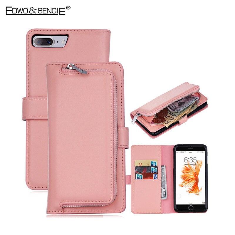 Цена за Edwo для apple iphone 6/6s/7 плюс мешок 2 в 1 флип мягкий pu кожаный бумажник молнии слот для карты съемный магнит телефон крышки случаях