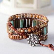 Браслет в стиле бохо, уникальная форма трубки, натуральный камень, 3 слоя кожи, браслеты в богемном стиле, Женский массивный браслет, Прямая поставка