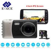 E-ACE Car DVR 4 Inch IPS Screen Auto Máy Ảnh Dual Lens FHD 1080 P Dash Cam Ghi Video Night Vision G-sensor Registrator