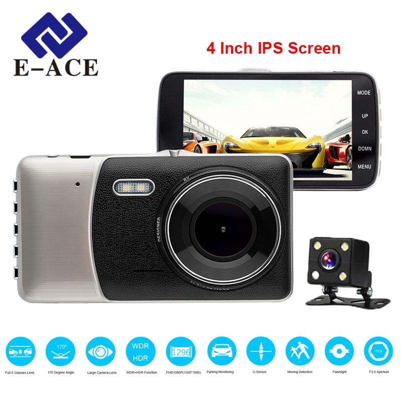 E-ACE DVR Carro 4 Polegada IPS Tela Da Câmera Auto Dupla FHD 1080 P Traço Cam Gravador De Vídeo de Visão Noturna lente G-sensor Registrator