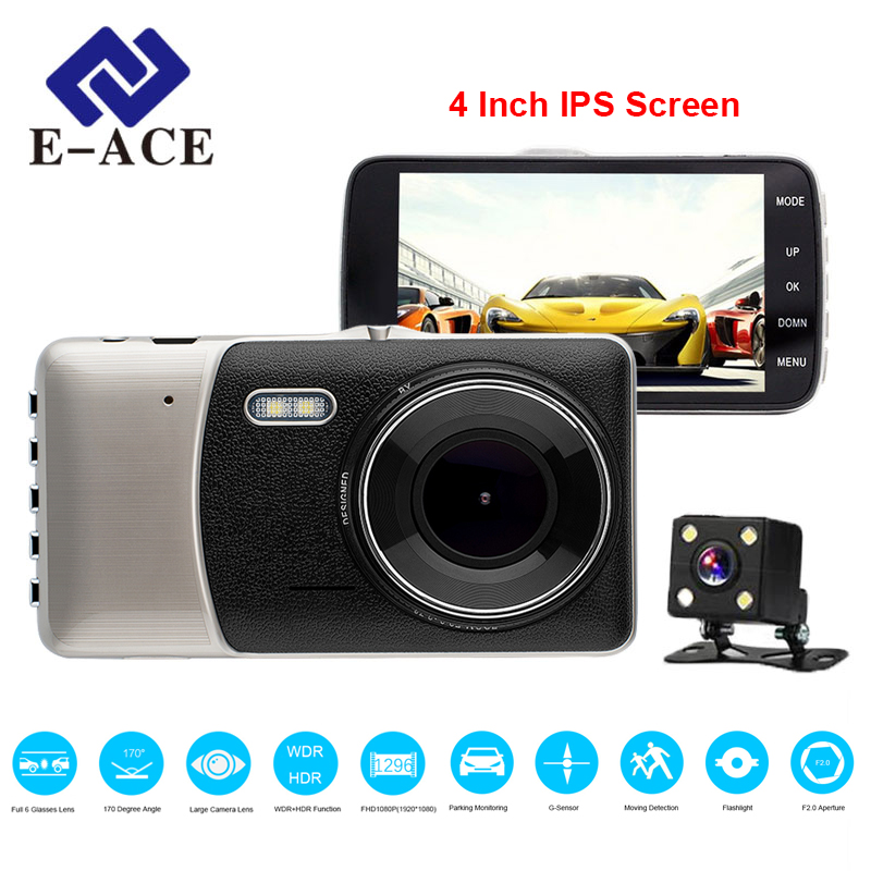 E-ACE Dell'automobile DVR 4 Pollice IPS Dello Schermo della Macchina Fotografica Auto Dual Lens FHD 1080 P Dash Cam Video Recorder Night Vision G-sensor Registrator