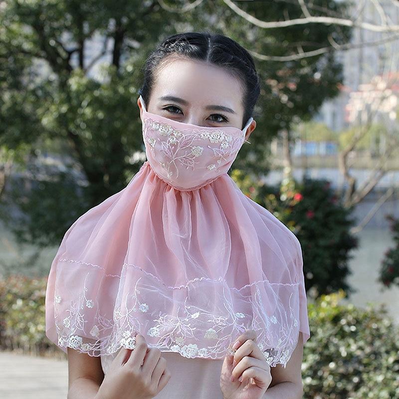 1 Pc Neue Mode Damen Spitze Patchwork Staubdicht Winddicht Masken Sommer Kawaii Lange Sonnenschutz Maske SorgfäLtig AusgewäHlte Materialien