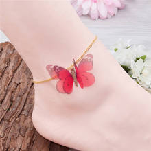 DoreenBeads Boho Style Organza Ethereal Butterfly Anklet Gold Color Red Glitter Foot Bracelet Jewelry 21.5cm(8 4/8″) long, 1 PC
