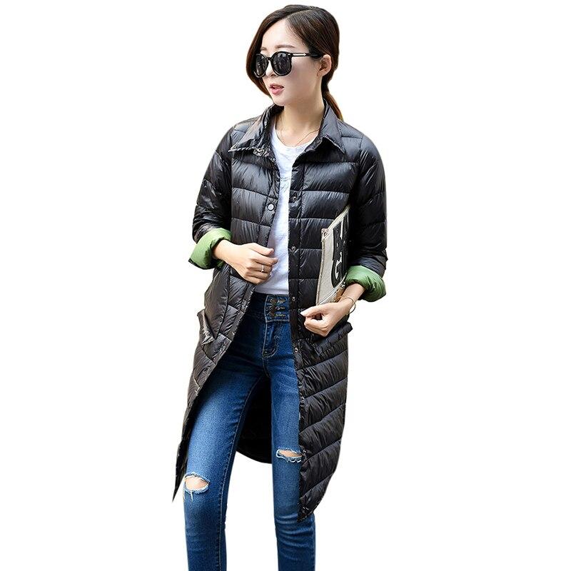 Wipalo Autumn Winter Women's Light Down Parkas Long Jacket Women Slim Solid Color Turn-down Collar Long Sleeve Button Coat