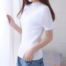 High Quality Womans Sweater Hollow-out Short-sleeved Half-high-collar pullover Pure Cashmere