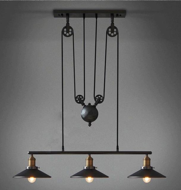 Rh2 loft vintage industrial retro iron pulley chandelier pendant rh2 loft vintage industrial retro iron pulley chandelier pendant lamp bar kitchen home decoration e27 edison aloadofball Images