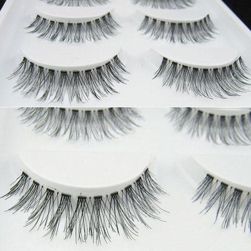 5 pares Handmade Cruz Natural Eye Makeup Lashes Extensão Pestanas Falsas Longas