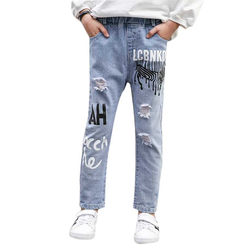 Jeans Baby Boy Solid Denim Trousers Loose Print Hole Jeans Fashion Letters Child Clothes 2019 For Boy Jeans Pants 4-14 Age(China)