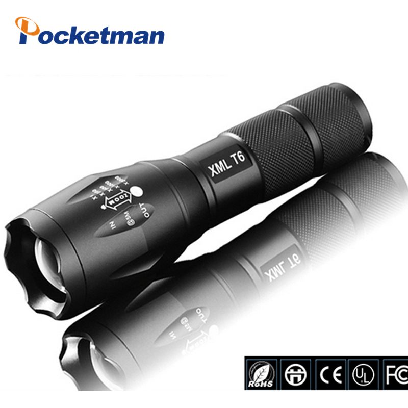 E17 Latarka LED 3800 Lumenów Taktyczna Wodoodporna Zoomable Mocna lampa XML T6 Latarka Campingowa LED