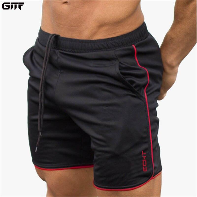 GITF gimnasio fitness shorts deportivos jogging entrenamiento Hombre Pantalones cortos deporte correr transpirable de secado rápido de malla de pantalones de chándal