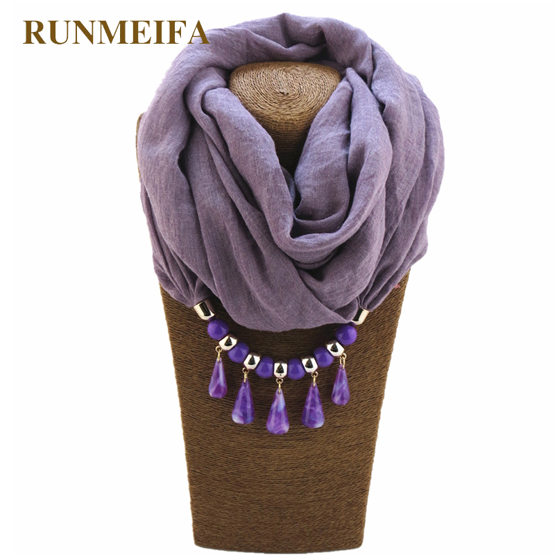 RUNMEIFA Women Fashion Beauty Water Drop Pendant Shawl Scarves for Ladies Female Scarf Necklace Polyester Beach Towel Shawl