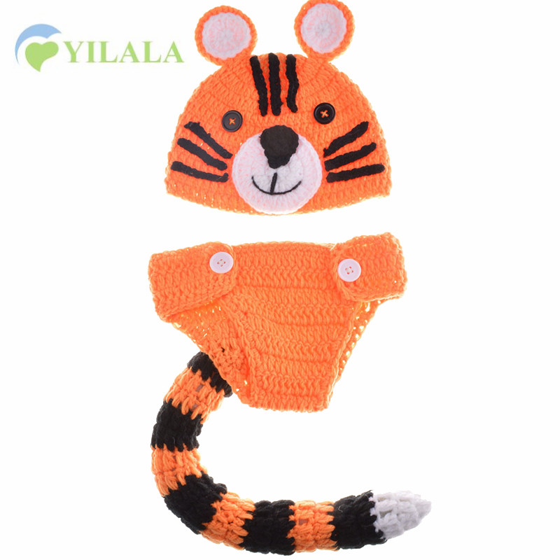 Fashion Animal Baby Hat Tiger Style Photograph Props Cotton Knitted Infant Beanie 2017 Newborn Baby Boys Girls Hat Accessories