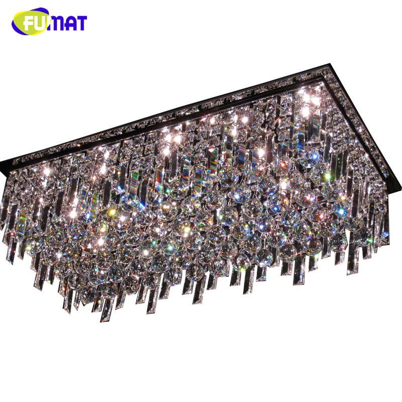Fumat Led Ceiling Fans Crystal Light Dining Room Living: FUMAT Rectangle K9 Crystal Chandelier Ceiling Living Room