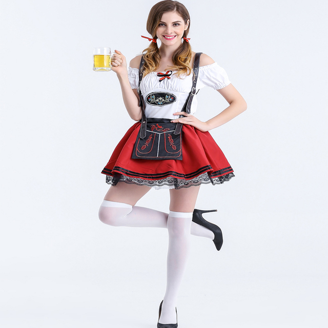 Adult Sexy Ladies Germany Beer Maid Oktoberfest Costumes Red Naughty Girl  Themed Party Halloween Fantasias Fancy
