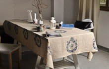Natural tablecloth Beauty table cover Retro Multisize cotton dining Vintage Home decor Brown Linen