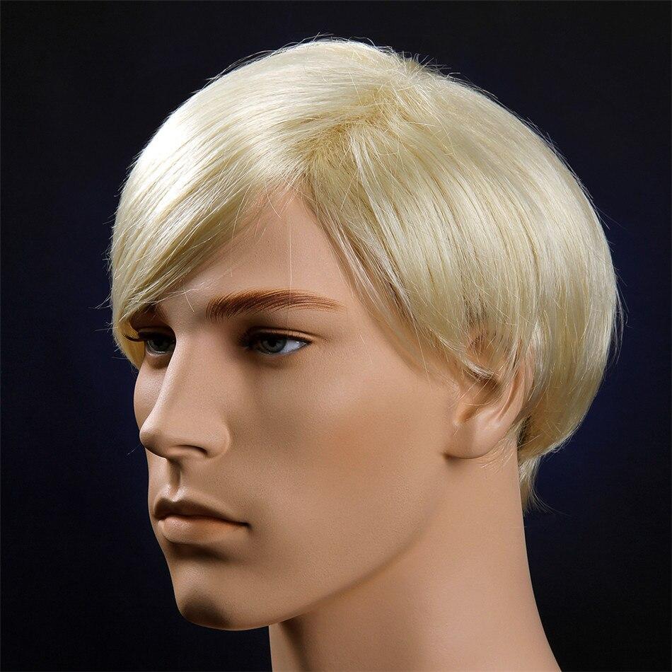 MSIWIGS Blonde Men Wigs Heat Resistant Toupee Natural Short Straight Wig for Men Japanese KA Fiber Hair