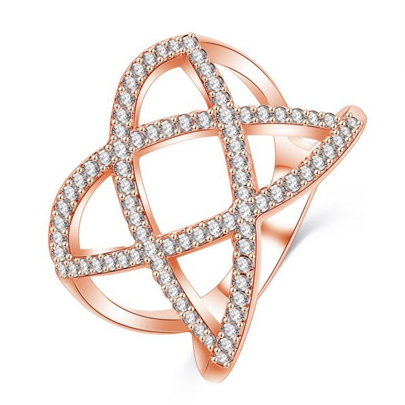 New Unique Design Antique Paved AAA Zircon Crystal Rings Vintage Gold Color Cross Double X Ring Women Finger Luxury Bijoux