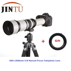 JINTU 650-1300mm f/8-16 Super Telephoto Zoom Lens for Canon T6I 450D 550D 650D 750D 800D 1300D 5DIV 7DII 60D 70D 80D 90D Camera