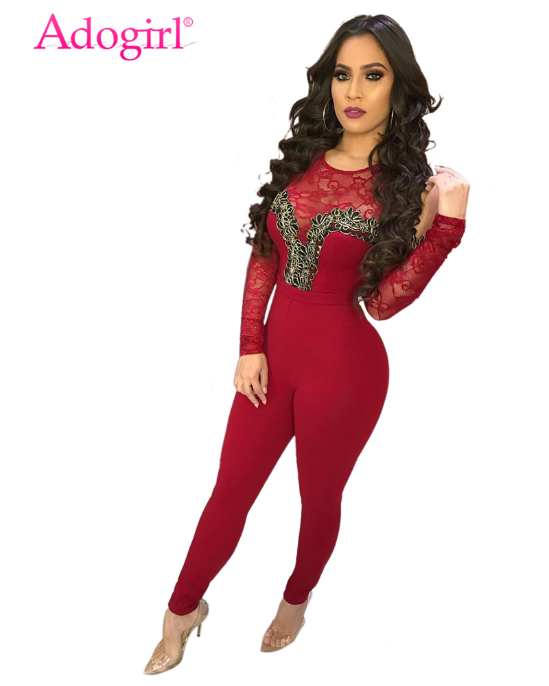 Adogirl Lacy Sheer Lace Patchwork Cold Shoulder Bandage Jumpsuit Long Sleeve Casual Romper Stretchy Women Club Outfits Overalls