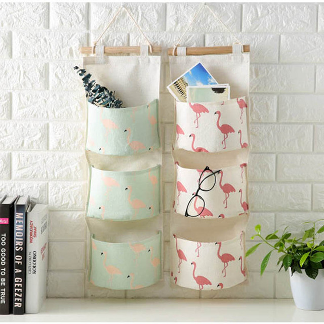 Comprar flamingo colgando bolsa de almacenamiento 3 bolsillos pared armario - Zapatero de tela para colgar ...