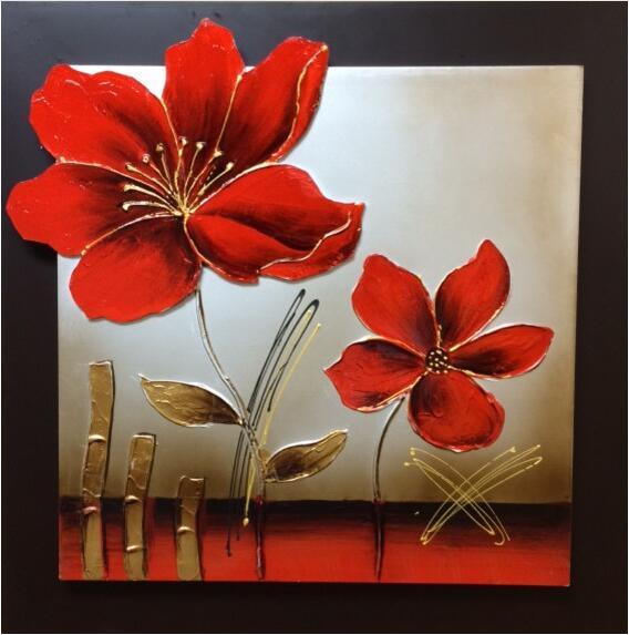 Nejnovější ručně vyráběné populární abstraktní olejomalba Moderní červené květy malování na plátně na zeď obrázky pro obývací pokoj umění