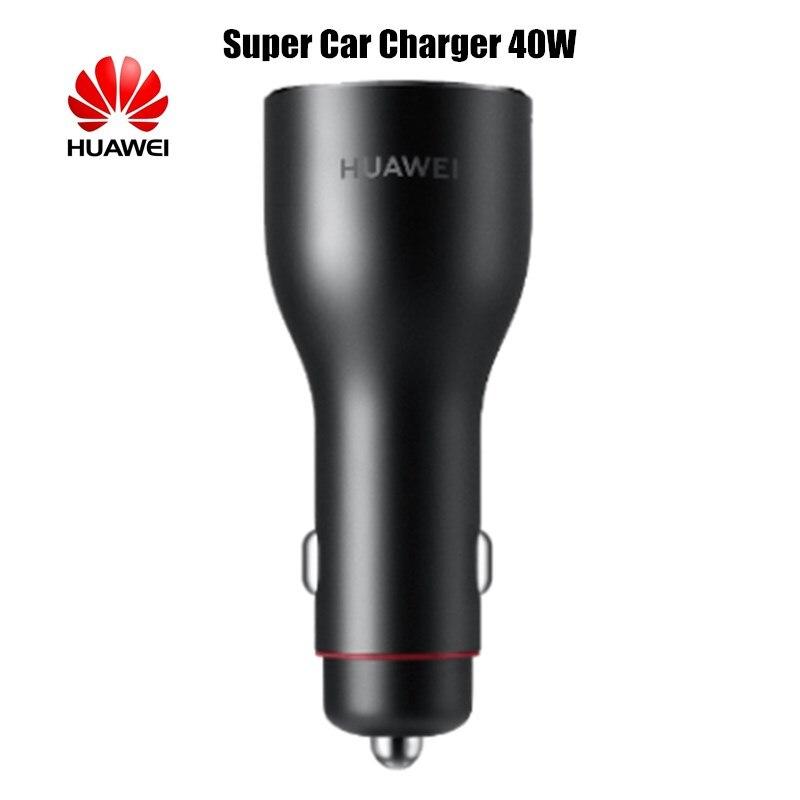 Chargeur de voiture d'origine HUAWEI SuperCharge 40 W 2 USB 10V4A 40 W 5V4A 20 W 9V2A 18 W 5V2A 10 W pour iPhone Oneplus téléphone Samsung Xiaomi