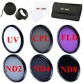 52mm 58mm 62mm 67mm 72mm 77mm UV CPL FLD/ ND2 4 8 Filter Kit+Lens Hood&Cap+Filter Case&Cloth For Nikon Canon Simga Tamron Camera