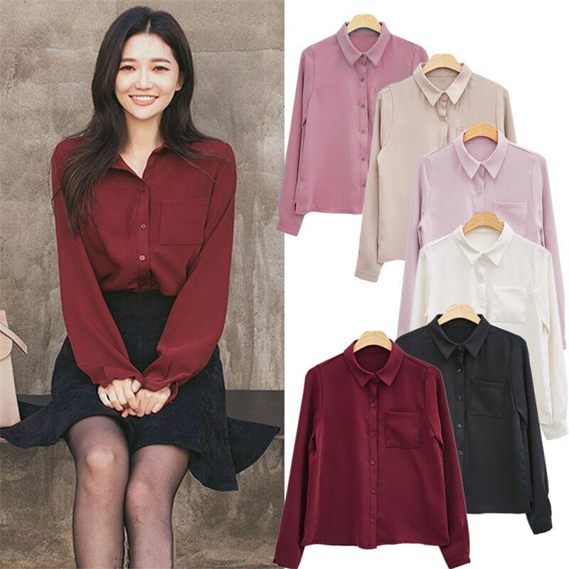 Women   Blouses     Shirt   Long Sleeve Casual Chiffon Turn-down Collar Solid Women Tops Korean Vogue   Shirt   Loose Single-breasted   Shirts