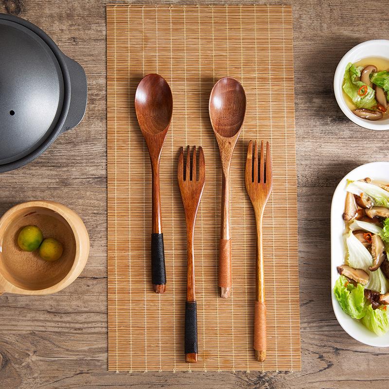 2 Pieces Wooden Fork Scoop Cutlery Set Tableware Wood Long Handle Dinnerware Set Fruit Dessert Serving Set Wood Kitchen Utensils (5)