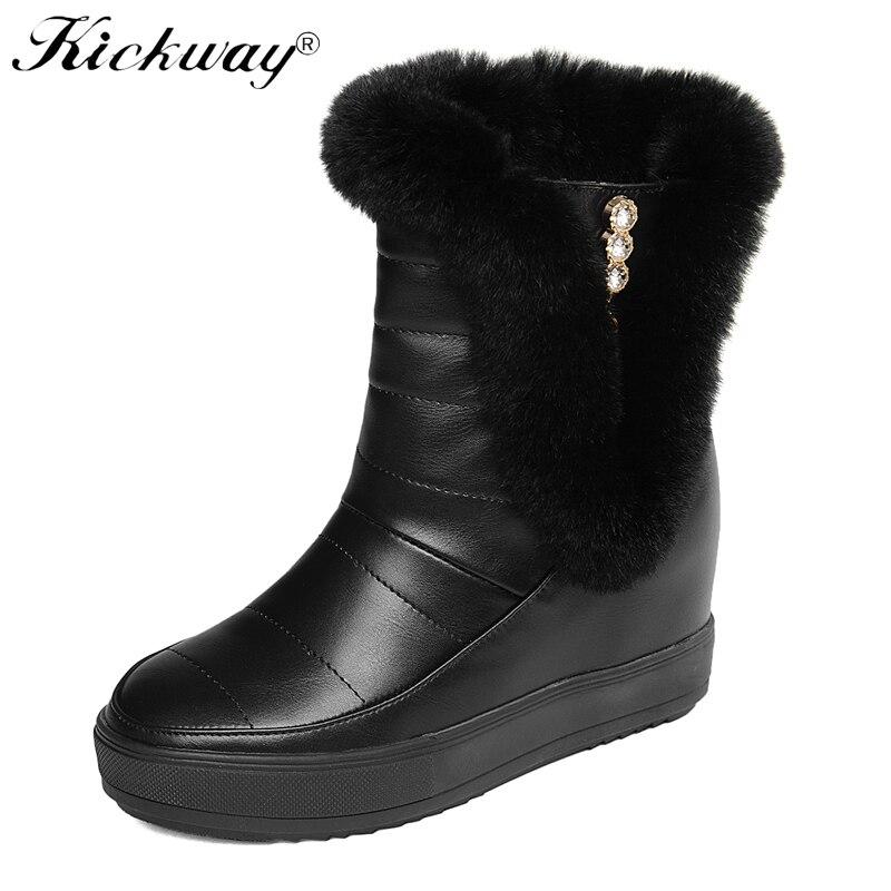 1b0296e4727 Nova Da Boots Prova De Cunha Botas Inverno Sapatos Moda Para Água Altura  Neve D  Aumento Ankle Quente À Kickway white Mulheres Do Black Plataforma  ...