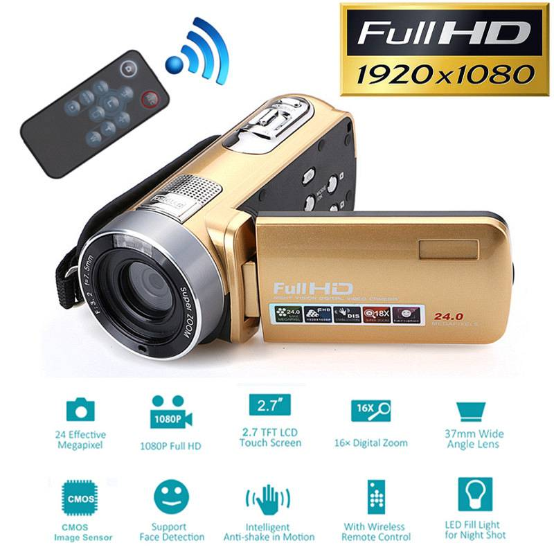 24 Million Pixels Infrared Night Vision HD Video Camcorder 1080P Digital Camera LED Flash 16x Digital Zoom Camcorder DV Recorder