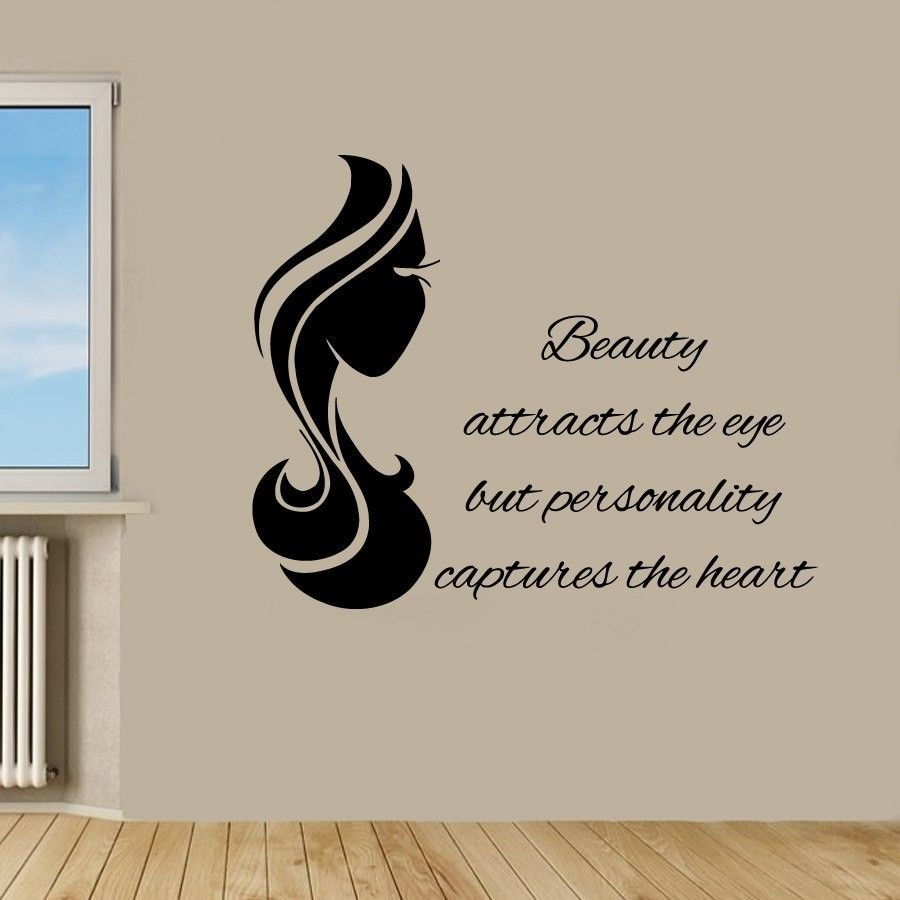 Wall Decals Quote Beauty Attracts The Eye Vinyl Sticker Beauty Salon