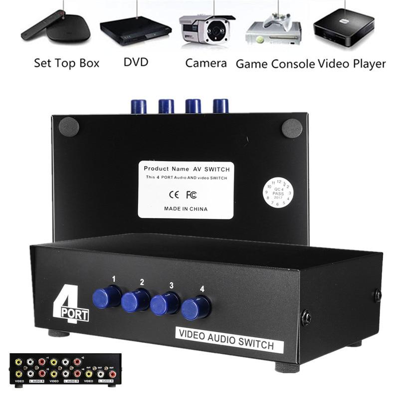 4x1 Ports AV Video Audio Selector Switcher 4-Way Switcher Splitter Switch Box RCA Selector Hub For STB,DVD,HDTV 3 port 3x1 spdif toslink mini optical digital selector audio switcher ptical fiber signal splitter box with remote control