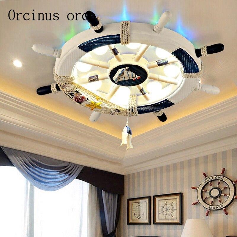 Mediterraneo timone lampada da soffitto della stanza dei bambini di illuminazione creativa di personalità del fumetto della ragazza del ragazzo camera da letto per bambini lampada