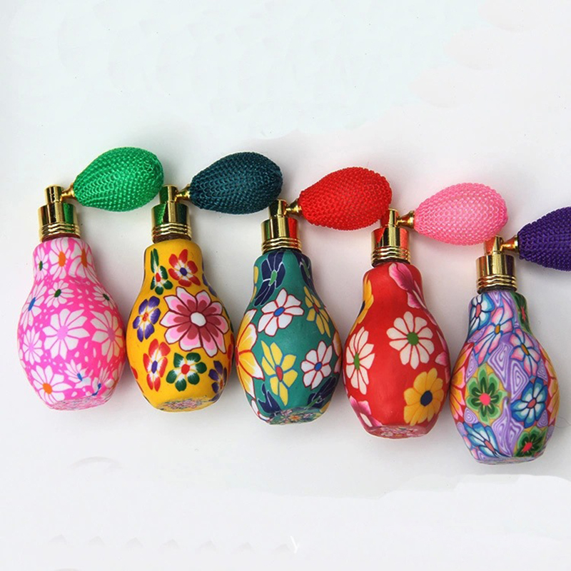(2Pieces/Lot) 10ML Portable Refillable Faience Ware Glass Perfume Bottle With Airbag Sprayer For Traveler & China Style drawing