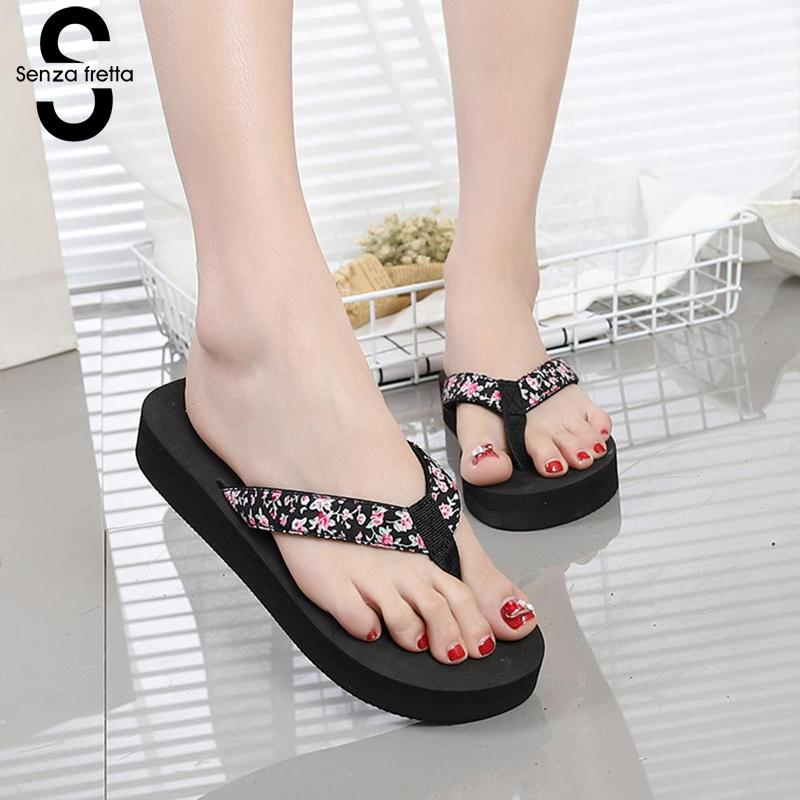 Senza Fretta Floral Black Flip Flops Women Slippers 2018 Beach Platform Shoes for Woman Summer New Females Sandals GPZ041