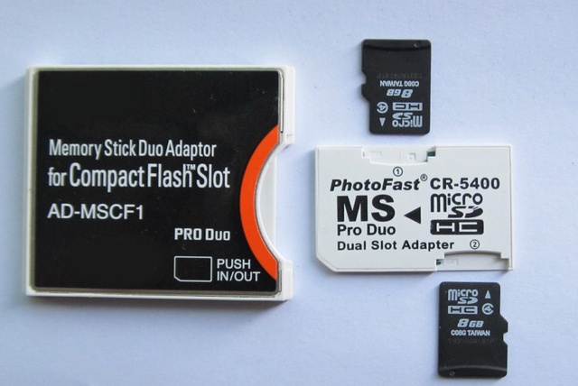 2PCS microSD Card 8GB WITH memory stick pro duo adapter plus compact flash card Adapter