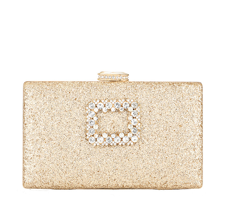 Rhinestone Women Wedding Bags Hard Surface Chain Box Handbags Sliver Sequined Women Clutch Shoulder Bag Ladies Sac Main Femme in Clutches from Luggage Bags